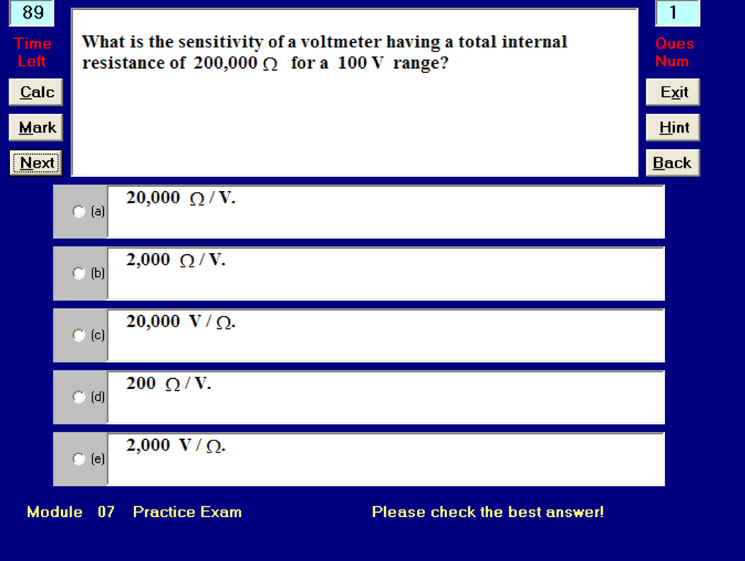 Online Exam screenshot