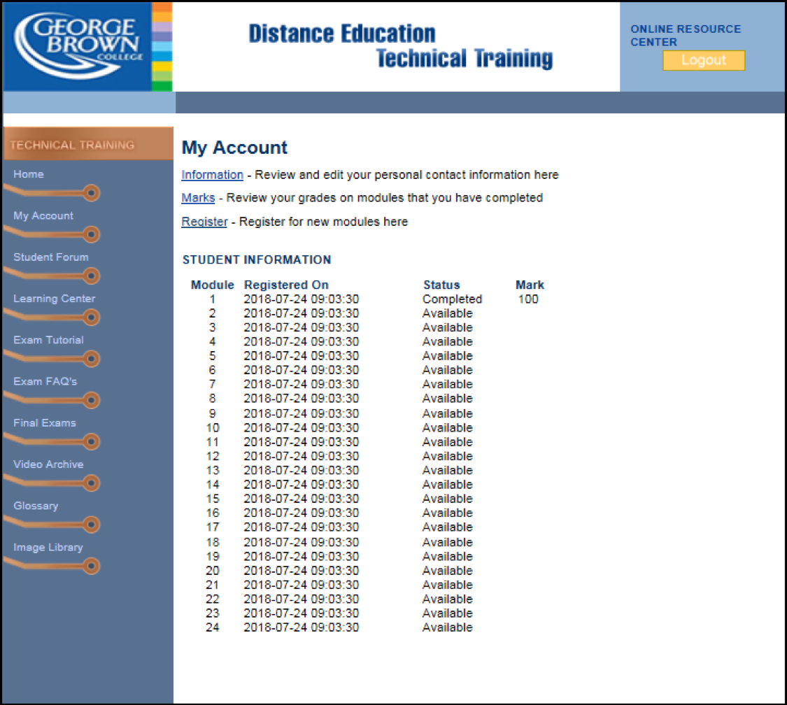 Student Portal screenshot to view exam results.